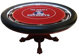 round custom poker table with led lights chip racks oak claw