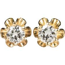 gold diamond stud earrings vintage solitaire diamond stud earrings 14k gold diamond buttercup