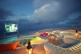 sea sand and cinema experience screen on the beach during your