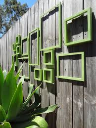 naturally outdoor wall art design with green square decoration in