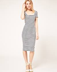 french connection french connection stripe midi dress in black lyst