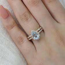 scalloped wedding band pear aquamarine ring bridal set in halo diamond scalloped band