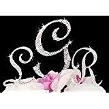 amazon com silver monogram wedding cake toppers initials with