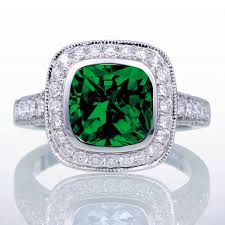 engagement rings for women 1 5 carat cushion cut emerald and diamond halo vintage engagement