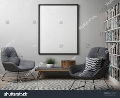 Scandanvian Design Blank Poster Scandinavian Design Interior 3d Stock Illustration