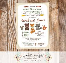 Baby Woodland Animals Baby Shower - modern over the river and through the woods woodland animals