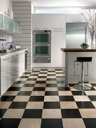 frosted glass cabinet doors kitchen floor black natural finishes checkered laminate wood
