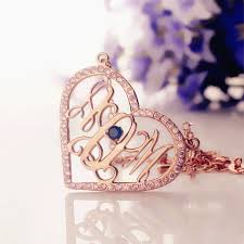 Initial Monogram Necklace Rose Gold Heart Birthstone Monogram Necklace
