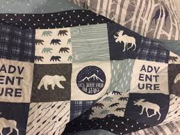 Deer Crib Sheets Adventure Baby Quilt Moose Deer Bear Nursery Rustic Woodland
