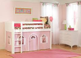 white solid wood loft bed with pink vinyl tent and ladded