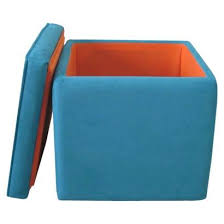 Tufted Ottoman Target by Threshold Round Tufted Storage Ottoman Blue I Target