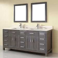 double sink vanity white white stained wooden frame glass window