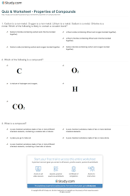 How The Earth Was Made Worksheet Answers Quiz Worksheet Properties Of Compounds Study Com