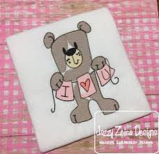 i love you bear sketch embroidery design valentines day sketch