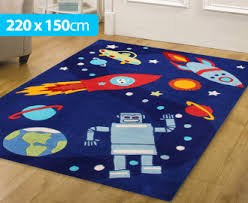 Boy Rugs Nursery Creative Kids 220 X 150cm Space Rug Blue For Space Or Robot