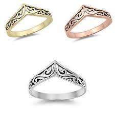 v shaped diamond ring ebay swirly stackable yellow silver v shape chevron thumb sterling