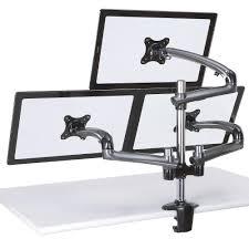 Three Monitor Desk Amazon Com Cotytech Triple Monitor Desk Mount Spring Arm Clamp