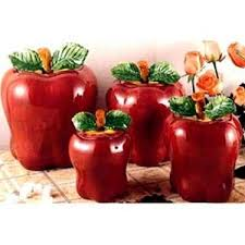 apple canisters for the kitchen this is a set of four ceramic apple shaped canisters that will be