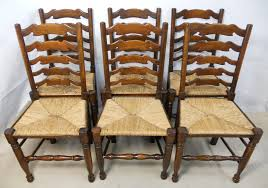 Ladder Back Dining Chairs Impressive Of Eight Elm Ladderback Seat Dining Chairs Sold