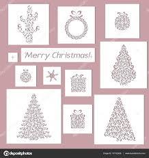 interior design card set of christmas openwork white paper card stencil design laser