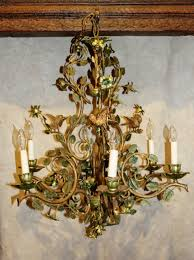 Vintage French Chandeliers Bronze French Antique Birds U0026 Tole Flowers Chandelier