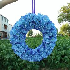 summer wedding decoration blue hydrangea wreaths front door wreath
