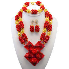 african wedding bead necklace images Fabulous red crystal african wedding beads jewelry set original jpg