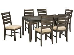 7 piece dining room table sets signature design by ashley rokane d397 425 contemporary 7 piece