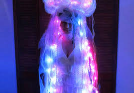 luminous jellyfish costume is handcrafted from everyday items