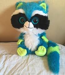 large plush big eyes rocco raccoon blue green long tail toy