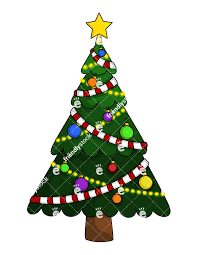 tree with garland vector clipart friendlystock