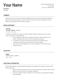 template for a resume free resume templates