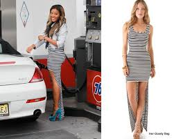 get the look angela simmons in a high low hem dress