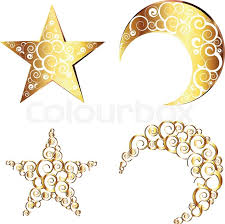decorative crescent moon and made with swirls stock vector