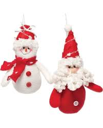 great deal on jolly plush santa and snowman ornament set of 2