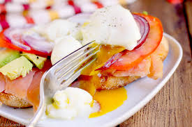 smoked salmon and poached egg sandwich and the kitchen