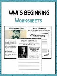 how did ww1 start worksheets facts information