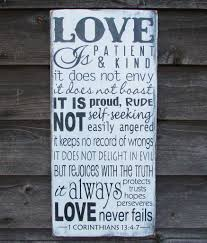 love is patient love is kind primitive rustic hand painted wood