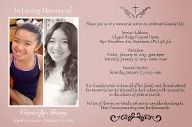 funeral service invitation cassidy s journey memorial service details for cassidy
