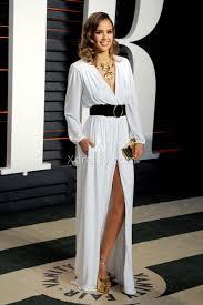 jessica alba white long sleeve oscars 2016 slit evening formal