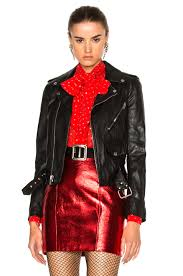 red motorcycle jacket saint laurent studded motorcycle jacket in black u0026 silver fwrd