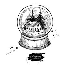 snow globe with house and fir tree inside christmas vector hand