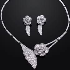 cubic zirconia necklace sets images Romantic rose wedding bridal jewelry sets gold color with aaa cz jpg