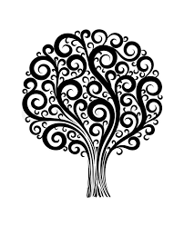 black tree in a flower design with swirls and flourishes on a