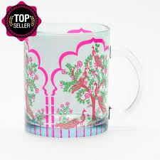 peacock tales glass mug dining