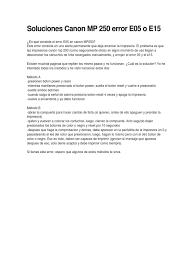soluciones canon mp 250 error e05 o e15