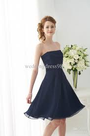short a line navy strapless lace bodice knee length chiffon