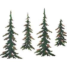 amazon com evergreen pine tree metal wall decor set of 4 home
