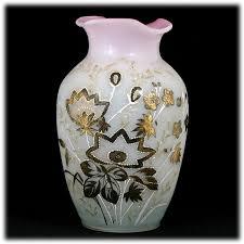 Victorian Glass Vase Victorian Bohemian Bristol Glass Vase Pink White Enameled Large