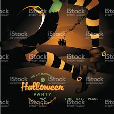 dancing witch halloween party invitation background stock vector